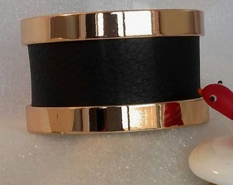 Leather backed gold metal cuff