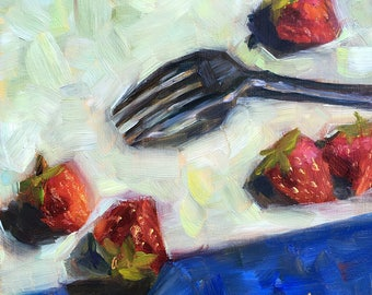 Strawberry Still Life, Red, Blue, Original Art, Oil Painting, 6x6 art, wall art