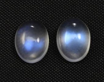 Two AAA 8x6 mm Rainbow Moonstone Oval Cabochon , Blue Flashy Moonstone