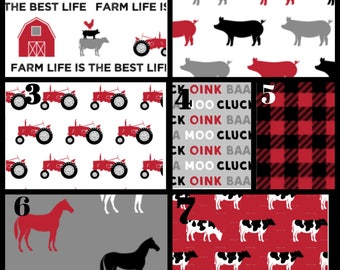 Custom crib bedding -farm life in red and black, cows. sheet, rooster, barn, baby boy nursery, dusty blue nursery, bumpers, quilt, sheet