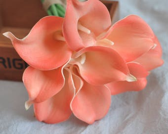 Real touch flowers real touch calla lily coral calla lilies wedding bouquet centerpiece corsage artificial flowers