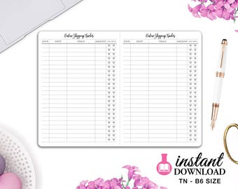 Printable TN Inserts - B6 Size / Foxy Fix #5 - Online Shopping Tracker - Travelers Notebook