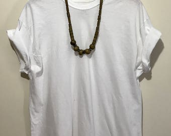 Green Wood and Brass Beaded necklace