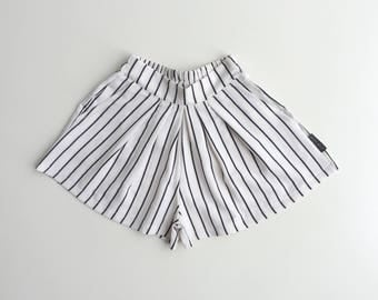 White Striped Pleated Skirt, Baby Girl White Skirt, Toddler White  Stripe Shorts, Trendy Girl Clothing, New Collection - By PetitWild