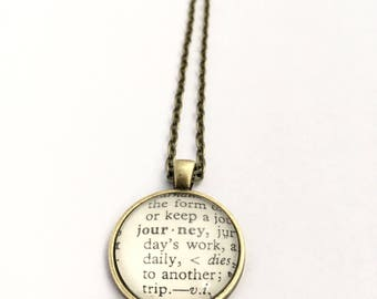 JOURNEY Vintage Dictionary Word Pendant