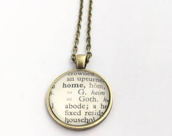 HOME Vintage Dictionary Word Pendant