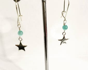Beautiful Handmade Sterling Silver Star Dangly Earrings made with Cats Eye Stones.