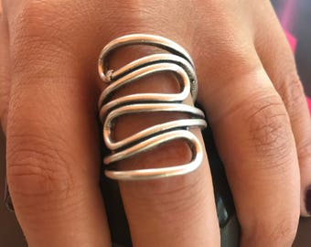 Metal ring, Silver plated, Oxidized ring,  Adjustable ring