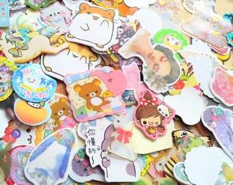 Kawaii Sticker Flakes - Grab Bag - Cute Stickers - 50 Pieces - Journaling - Japanese Stationery - Kawaii Stickers Surprise Mix