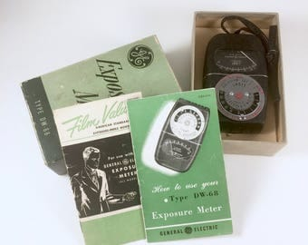 GE Exposure Meter, Vintage Type DW-68 Light Meter, Original Box, Instruction Manuals, General Electric Exposure Meter, Made in U. S. A.
