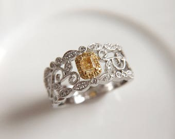 Cushion Yellow Diamond Engagement Ring Yellow Diamond Ring