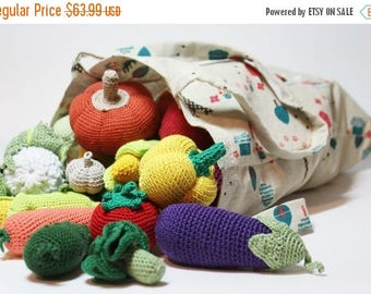 ON SALE 10% OFF Crochet play food set 20 pcs Crochet vegetables and fruits Ready to ship Montessori toys for toddlers Kitchen decor Toy vegg