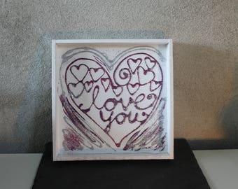 Wooden tablet, white, pink / violet lettering