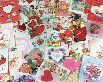 huge lot of 40 vintage VALENTINES DAY CARDS