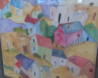 """New Mexico Village.  2007 Original Watercolor on Paper.  Approximately 12""""x16"""".  Offered framed or unframed."""