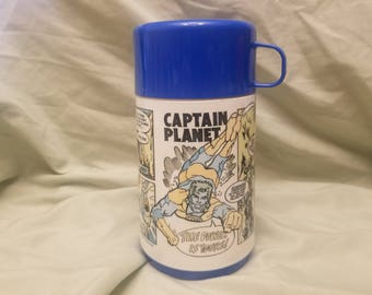 Vintage Aladdin Captain planet Thermos with cap