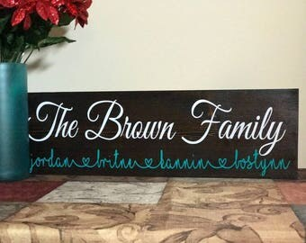 Wooden family sign, Last name sign, christmas gift, personalized sign, wooden sign, family name sign, anniversary gift, birthday gift,