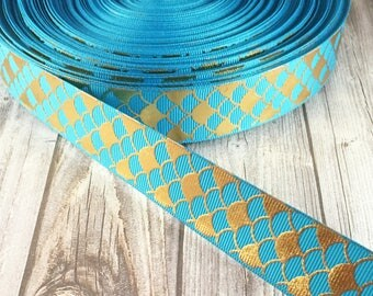 Mermaid ribbon - Gold foil ribbon - Mermaid scale ribbon - Blue mermaid ribbon - Pink mermaid ribbon - Black mermaid ribbon - Red mermaid