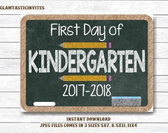 First Day of Kindergarten Sign Instant Download, First Day of School Chalkboard, Three Sizes, First Day of School. Chalkboard Sign, DIY sign