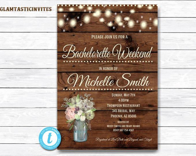 Rustic Bachelorette Party Invitation, Rustic Invitation, Mason Jar invitation, Flower Invitation, Bridal Shower Invitation, Bachelorette
