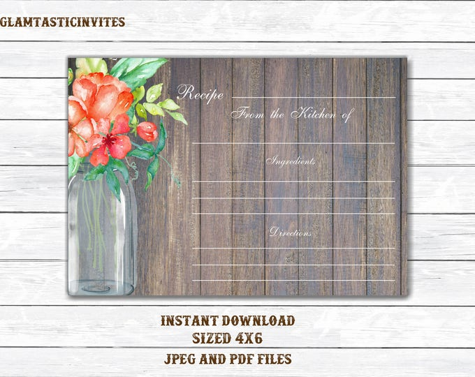 Recipe Card, Rustic Recipe Card, Rustic String Lights, Bridal, Baby Shower, Bridal Shower, Mason Jar, Floral, String lights, Printable