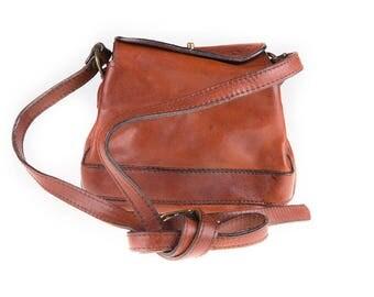 C&C Vintage Cognac Brown Leather Shoulder Bag