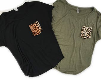 Leopard Pocket Tee, Women's Relaxed fit Tshirt, Animal Print