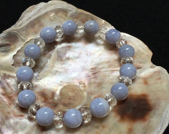 Natural Blue Chalcedony and Faceted Crystal Beaded Bracelet