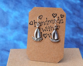Silver Sail Boat Earrings - Sail Boat Jewelry, Dangle Earrings Nautical Jewelry, Ocean Earrings, Ocean Lover Gift