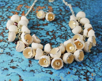 Polymer Clay Necklace. White Flower Necklace Set. Hand Made Jewelry. Polymer Clay Flowers. Gift for Her. Necklace and Earrings