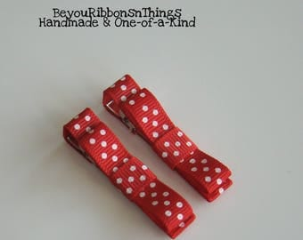 Christmas Red | White Dots | Hair Clips for Girls | Toddler Barrette | Baby Hair Clips | Kids Hair Accessories | No Slip Grip | Holidays
