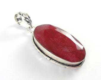 Raw Ruby Pendant 925 Sterling Silver