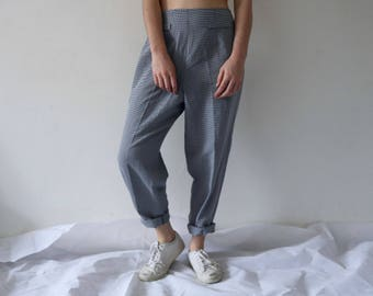 High Waisted GINGHAM Checked Baggy Pants