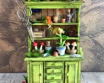 Woodland fairy cupboard, fairy garden cabinet, artisan fairy miniature