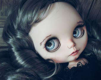 RESERVED for Deborah Hart. The Goth ALINE. ooak doll. Blythe custom collection. Little Darling