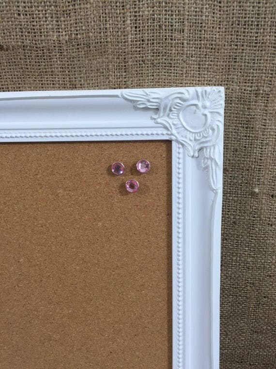 FRAMED PIN BOARD - White Framed Corkboard | White Ornate Framed Cork Board | Memo Board | Notice Board | Vision Board | Framed Earring Stand