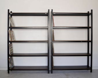 Pair of Vintage Metal Bookshelves / Shelving Units Record Racks for Records - Very Solid!