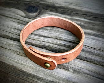 Natural Colored Leather Bracelet, Horse Leather Bracelet