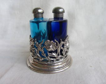 Vintage set of two cobalt blue glass perfume bottles in silver metal holder, First Impressions England. Pretty  pair scent bottles in stand