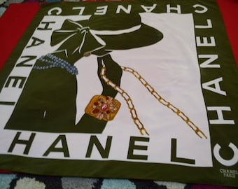 Greenish Authentic Vintage 1980s  Chanel Rue De Cambon Silk Scarf - Large 34 x 35