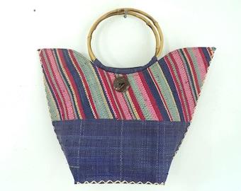 Rainbow Straw Purse, Round Handle Summer Handbag, Resort Purse, Top Handle Faux Straw Purse, 90s Stripe Blue Purse, Light  Minimalist Bag