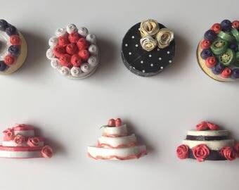 Handcrafted Quilled Pastry Magnet Miniatures