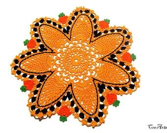 Orange and Black Halloween crochet doily, centrino arancione e nero per Halloween all'uncinetto