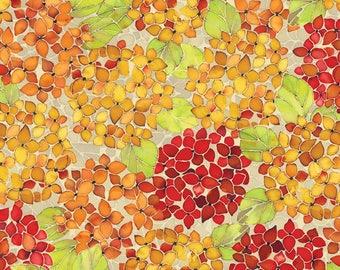 In the Beginning Fabrics 'Hydrangea Orange' Fabric By The Yard; Ajisai by Jason Yenter, 2AJI 2