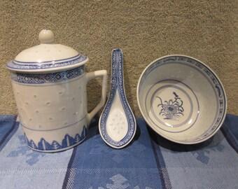 Chinese Rice Grain Set  Mug , Bowl and Spoon vtg makings mfg china