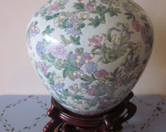 Chinese Unique Ginger Jar Famille Verte Hand Painted Floral details  Red Markings