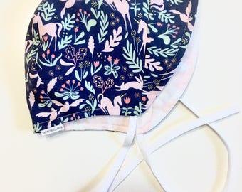 Summer Baby Bonnet - Size 3-6 mths - Blue Unicorn