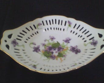 Norcrest Oval Reticulated Candy/Trinket Dish