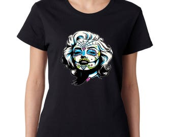 Ladies Tshirt Zombie Face Marilyn Monroe Ladies T-Shirt Halloween Gift Shirts