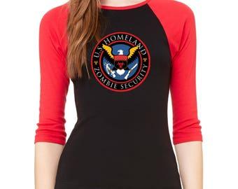 Raglan Baseball Shirt Zombie Outbreak Response Team 3/4 Sleeve National Defense Raglan Baseball Shirt